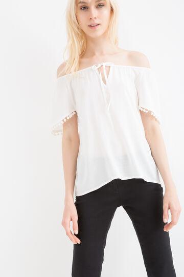 Blusa pura viscosa inserti maniche, Bianco, hi-res