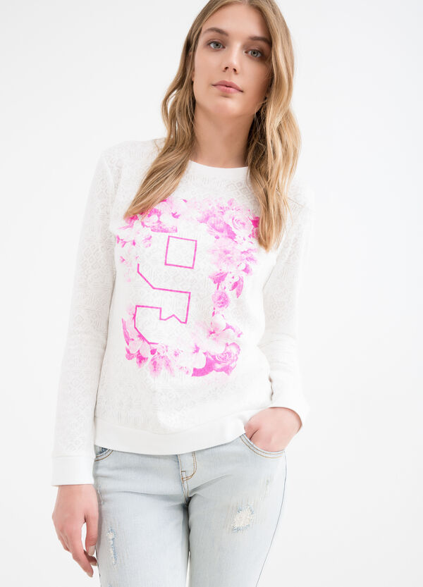 Cotton blend patterned sweatshirt | OVS