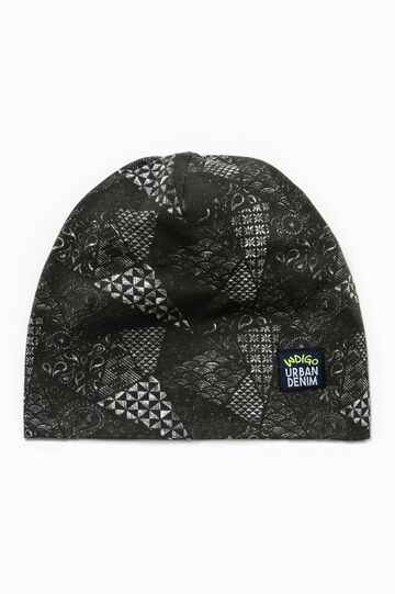 Patterned jersey beanie cap, White/Black, hi-res