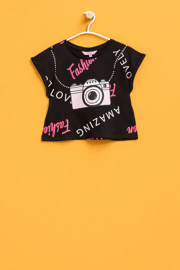 Cotton round neck T-shirt with print, Black/Pink, hi-res