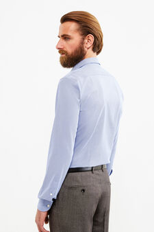 Slim-fit patterned formal shirt, Blue, hi-res