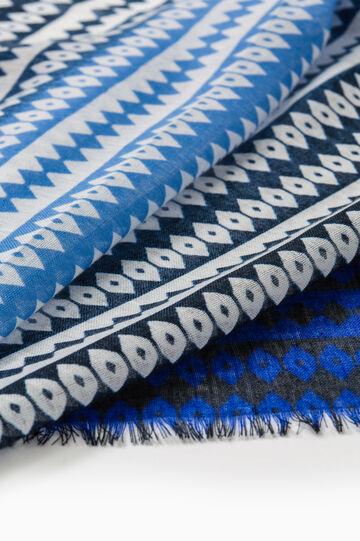 Pashmina con fantasía y bordes deshilachados, Azul marino, hi-res