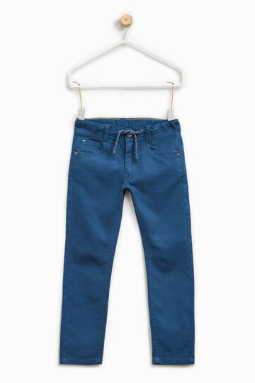 Cotton and linen drawstring trousers., Deep Blue, hi-res
