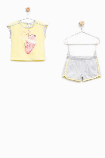 Conjunto de camiseta y shorts con estampado, Multicolor, hi-res