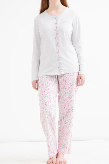 Curvy patterned pyjama trousers., Grey Marl, hi-res