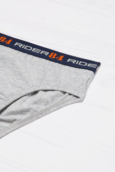 Stretch cotton briefs with printed lettering, Grey Marl, hi-res