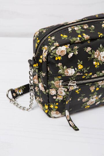 Mini shoulder bag with floral pattern, Black, hi-res