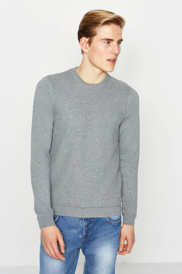 Ribbed knitted pullover, Grey, hi-res