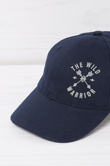 Printed cotton baseball cap, Navy Blue, hi-res