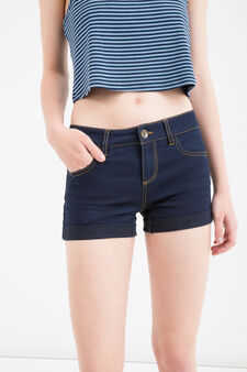 Solid colour stretch shorts with turn-ups, Dark Blue, hi-res