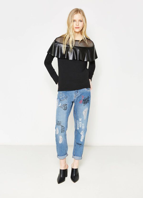 Sweatshirt in cotton with tulle and flounces | OVS