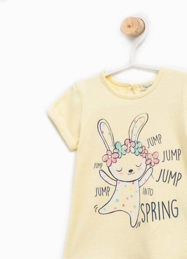 Cotton T-shirt with glitter print | OVS