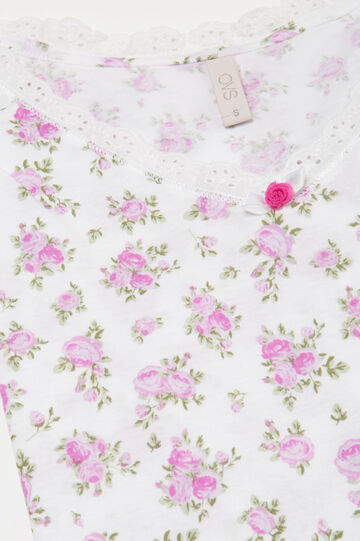 Cotton pyjamas with floral pattern, White, hi-res
