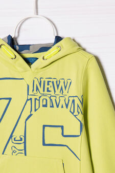 100% cotton sweatshirt with printed lettering, Acid Green, hi-res