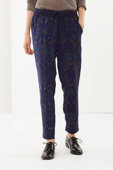 Fantasy print trousers, Navy Blue, hi-res