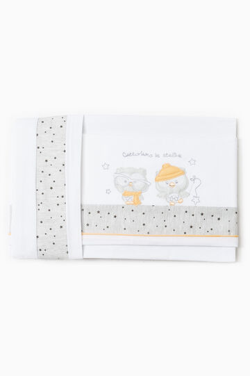 Crib set with owl patches, White/Grey, hi-res