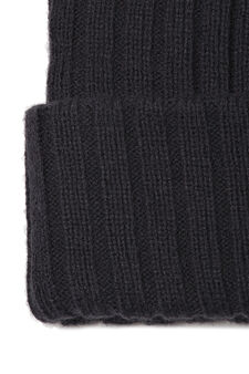 Ribbed knitted beanie cap, Navy Blue, hi-res
