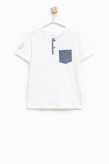 T-shirt con taschino e stampa, Bianco sporco, hi-res