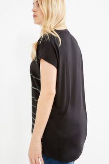 Curvy striped viscose T-shirt, Black, hi-res