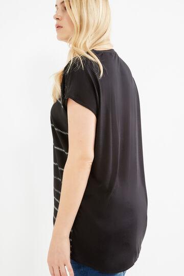 Curvy striped viscose T-shirt, Black, hi-res