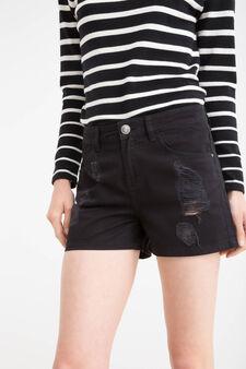 Shorts puro cotone con strappi, Nero, hi-res