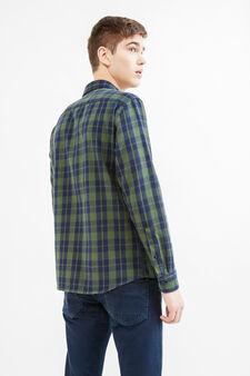 G&H casual check cotton shirt, Blue/Green, hi-res