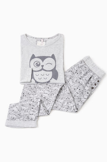 Cotton and viscose pyjamas with print, Grey Marl, hi-res