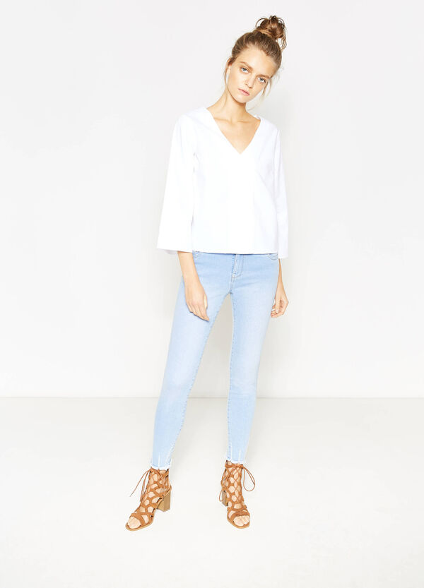 Cotton blouse with three-quarter sleeves | OVS