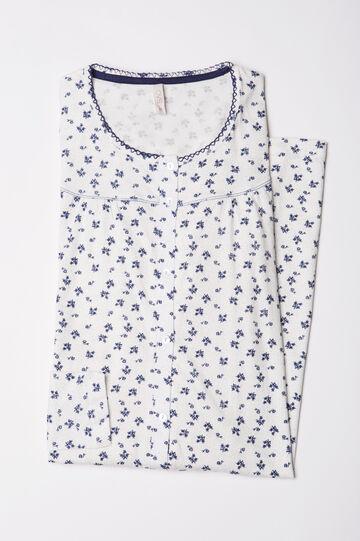 Printed cotton nightshirt, White, hi-res