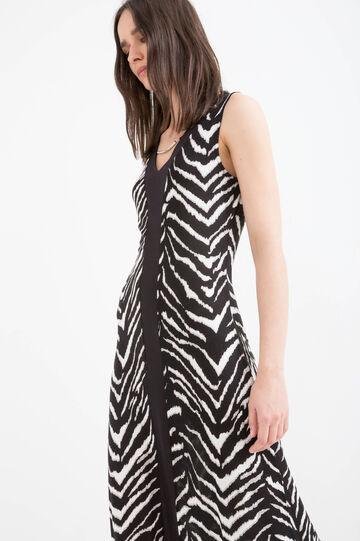 Long printed dress in 100% viscose, Black/White, hi-res