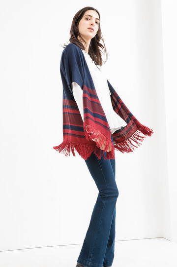 Cardigan with striped fringe, Blue, hi-res