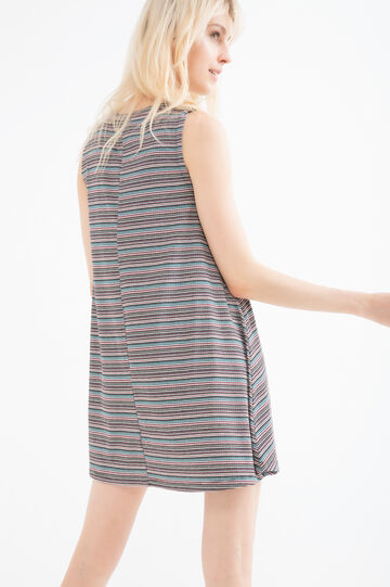 Short stretch dress with striped print.