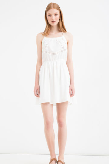 Cotton and viscose short dress, White, hi-res