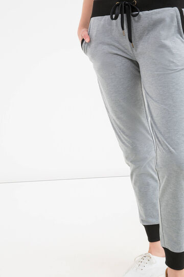 Solid colour stretch trousers, Grey, hi-res