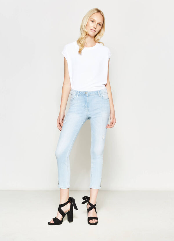 Stretch jeans with buttons on the ankles | OVS