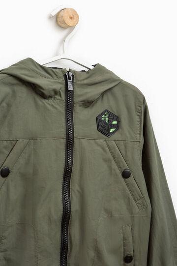 Jacket with contrasting colour ribbing, Green, hi-res