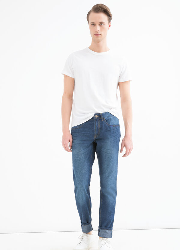 Slim-fit, worn-effect jeans with five pockets | OVS