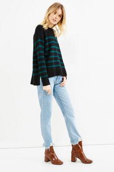Pullover tricot fantasia a righe, Nero/Verde, hi-res