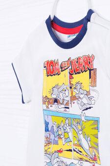 Completo t-shirt e shorts stampa, Bianco/Blu, hi-res