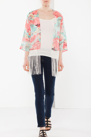 Kimono jacket with fringe, Multicolour, hi-res