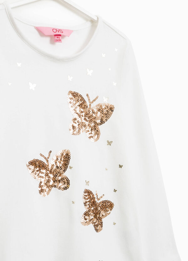 T-shirt with butterfly sequins | OVS