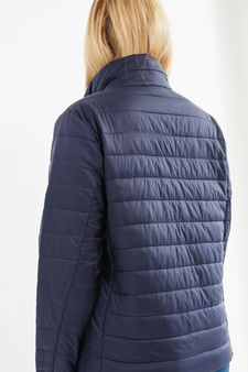 Curvy solid colour down jacket with high neck, Navy Blue, hi-res