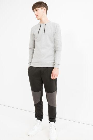 Round-neck sweatshirt in cotton blend with drawstring., Grey Marl, hi-res