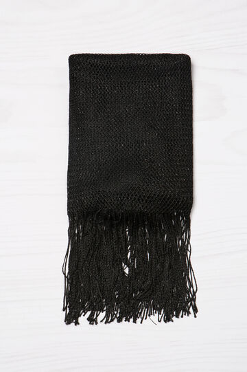 Viscose scarf with lurex fringing, Black, hi-res