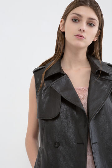 Solid colour leather look waistcoat, Black, hi-res