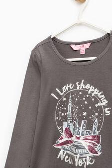 Maxi print T-shirt in 100% cotton, Dark Grey, hi-res