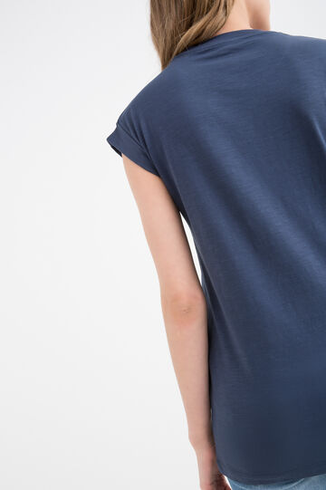 100% cotton T-shirt with round neck., Blue, hi-res