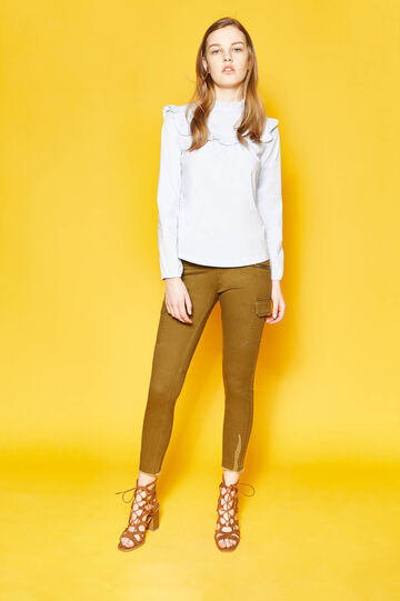 Cargo trousers with fringed hem