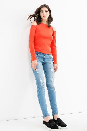 Jeans skinny fit stretch con strappi, Lavaggio chiaro, hi-res
