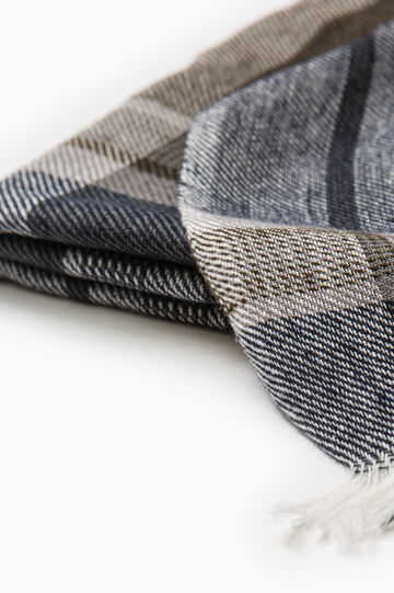Scarf in 100% cotton with check pattern, Grey, hi-res